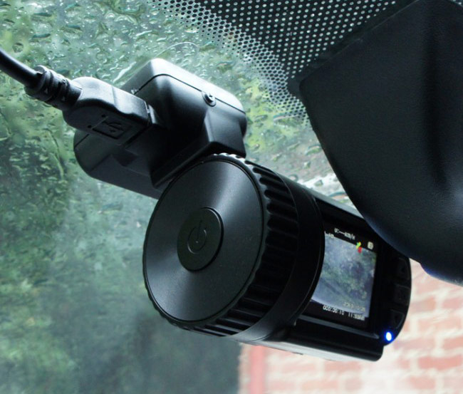 Dashcam Mounted in Car